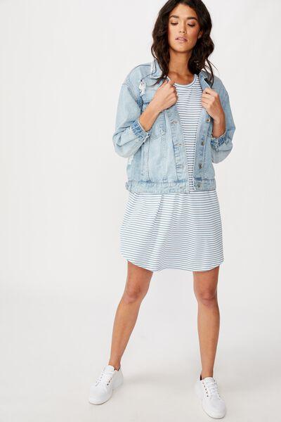 Tina Tshirt Dress 2, LULU STRIPE WHITE/PROVINCIAL BLUE