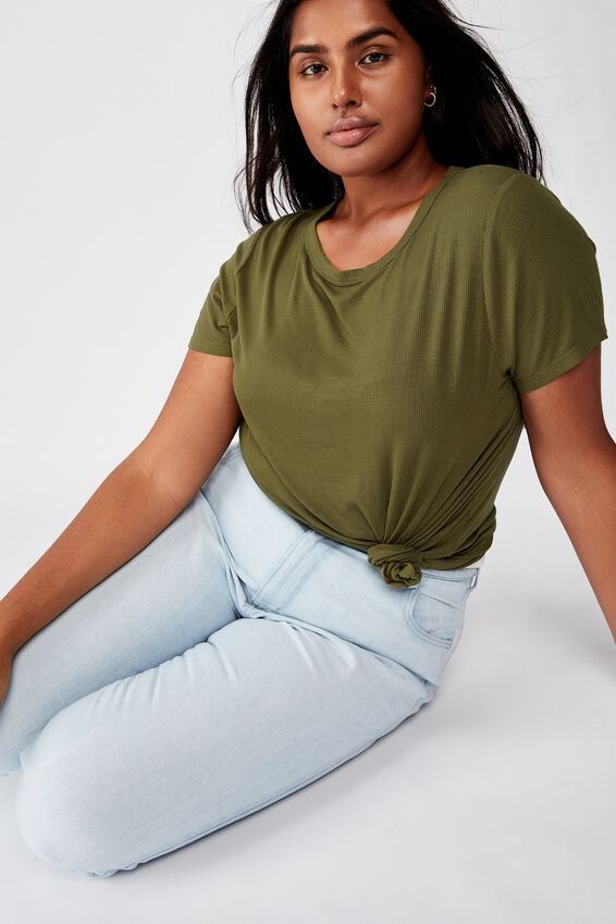 Curve Girlfriend Tee, WINTER MOSS