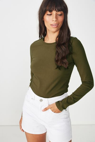 Everyday Long Sleeve Crew Neck Top, BEECH