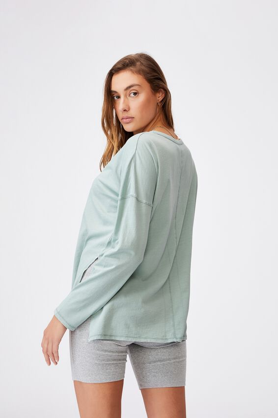 Oversized Side Split Long Sleeve Top, WASHED LUSH GREEN