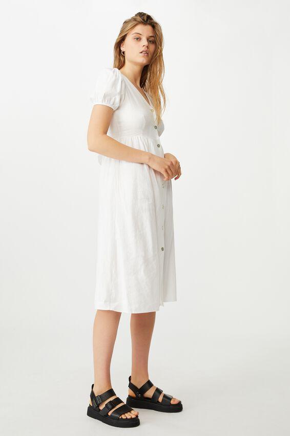Woven Hanna Bell Sleeve Midi Dress, WHITE