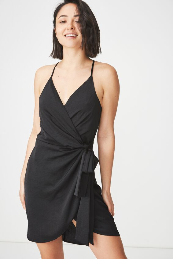 Woven Satin Strappy Wrap Midi Dress, BLACK
