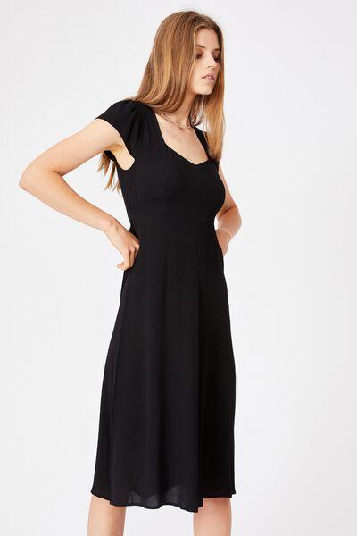 Woven Cleo Tie Back Midi Dress, BLACK