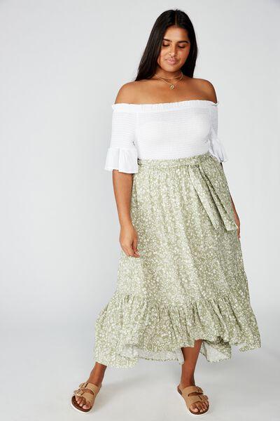 Curve Gypsy Tiered Maxi Skirt, BLAIR FLORAL PAISLEY TEA