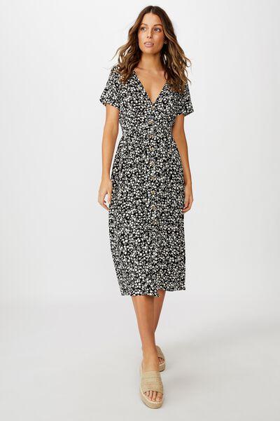 Woven Clover Short Sleeve Midi Dress, TAYLAH DITSY PIRATE BLACK