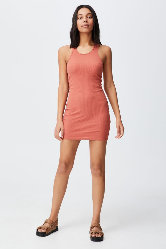 Essential Racer Mini Dress, EARTHY RED