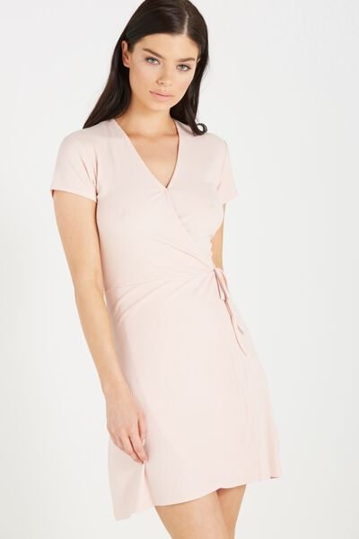 Sophia Short Sleeve Wrap Dress, NUDE PINK