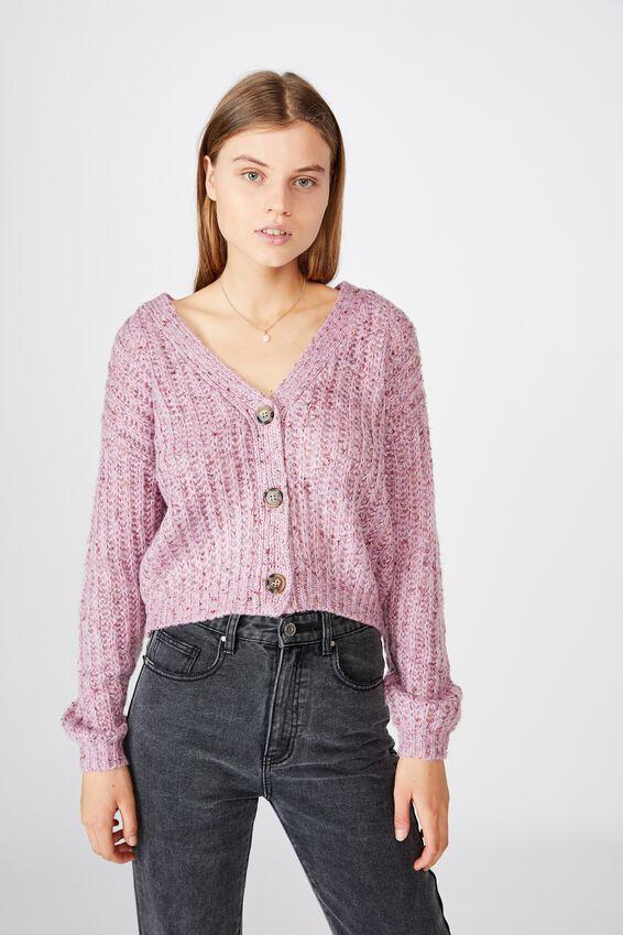 Multi Yarn Cropped Cardi, PURPLE MULTI