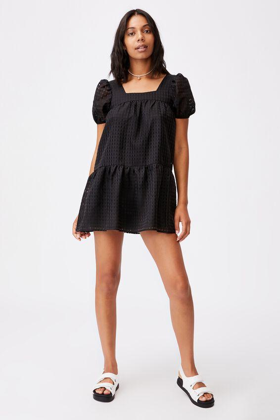 Woven Kit Puff Sleeve Babydoll Tie Back Mini Dress, BLACK