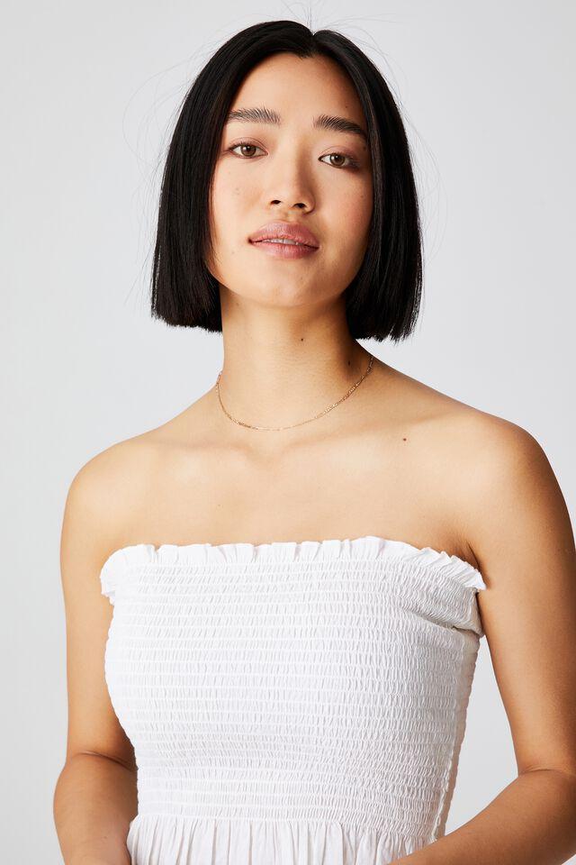 Sunseeker Shirred Boob Tube Petite, WHITE