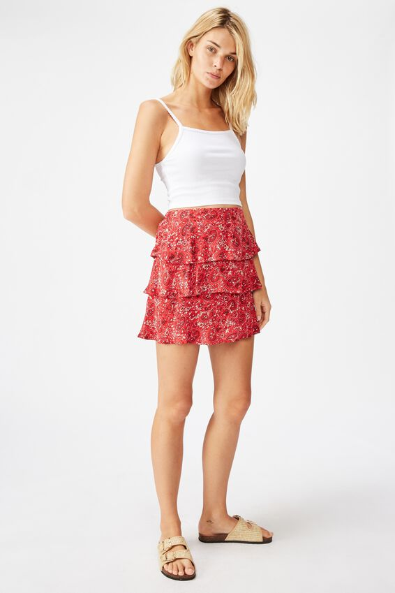 Byron Tiered Mini Skirt, JANE PAISLEY SCARLET