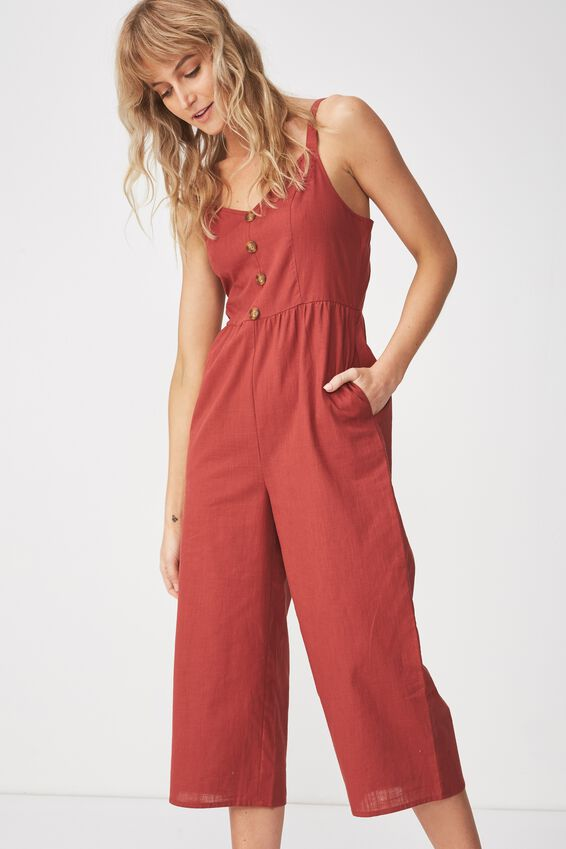Woven Toni Strappy Jumpsuit, ROSEWOOD