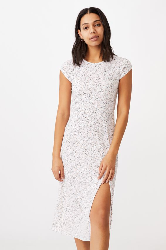 Elsa Short Sleeve Split Front Midi Dress, MAYA DITSY CANYON CLAY