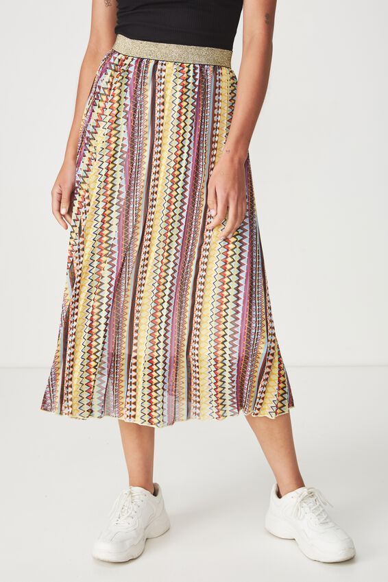 Woven Daria Pleated Midi Skirt, HOLLY ZIG ZAG MULTI