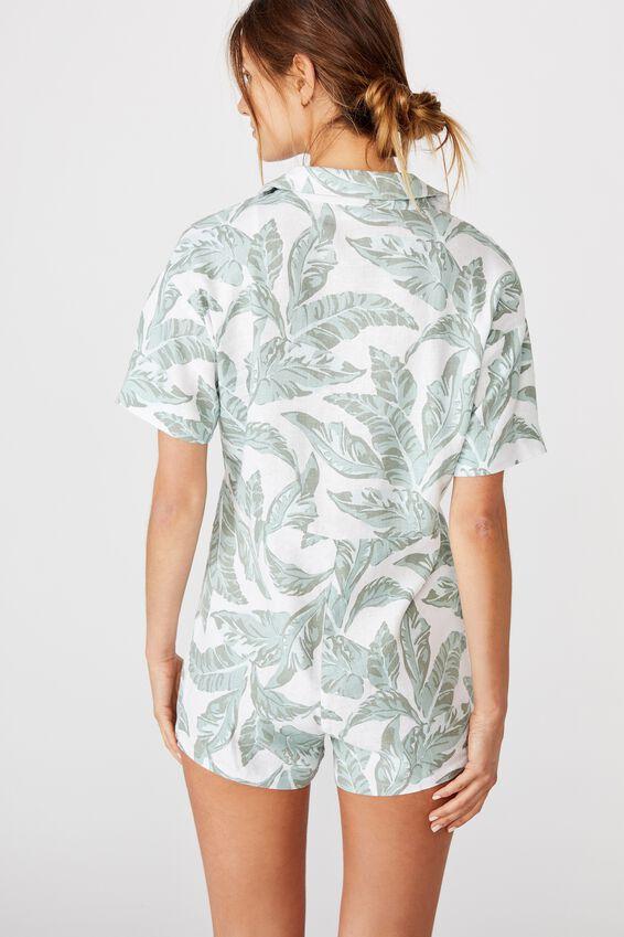Woven Tropical Playsuit, ISLA TROPICAL JADEITE