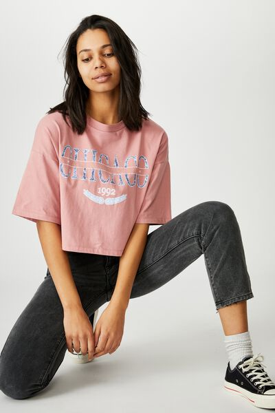 Chopped Boyfriend Tee, CHICAGO/DARK MAUVE