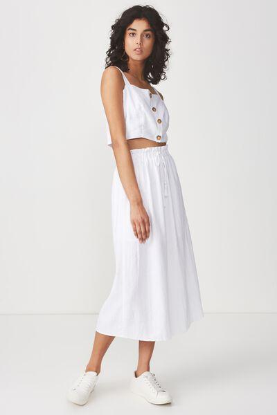 Woven Marnie Midi Skirt, WHITE