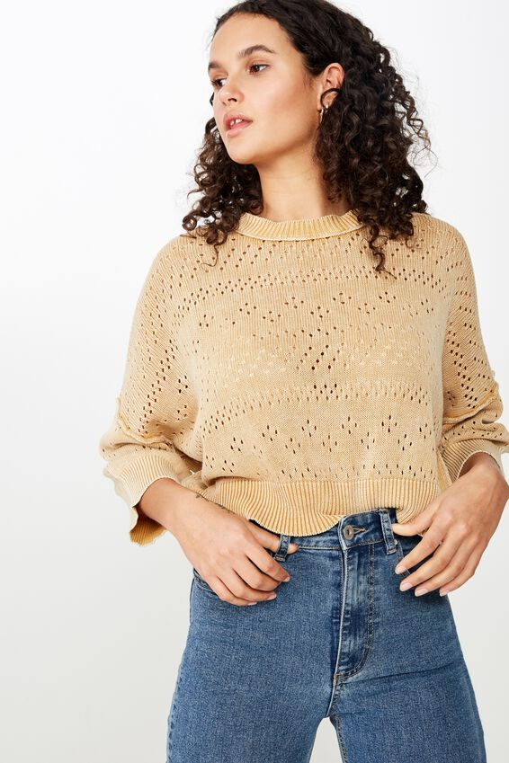 Coldwash Pointelle Wide Sleeve Pullover, BRIGHT GOLD