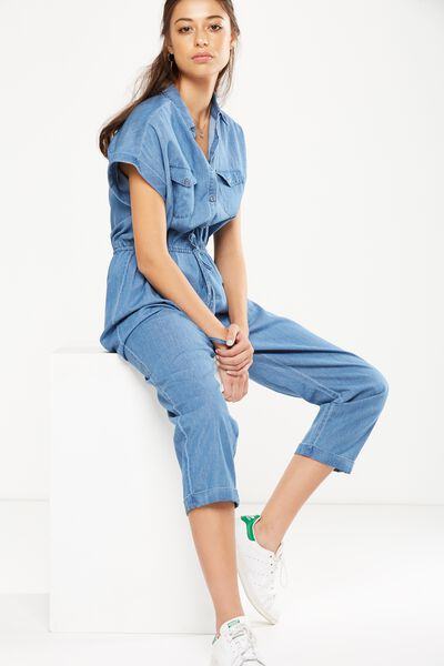 Woven Short Sleeve Boiler Jumpsuit, CHAMBRAY