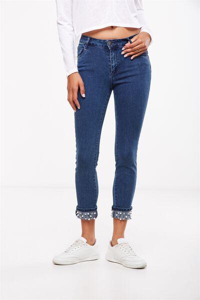 Mid Rise Grazer Skinny Jean 2, BLUE BLING