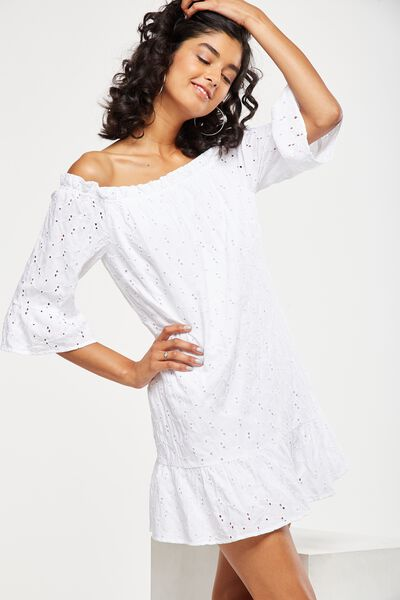 Woven Bobby Off The Shoulder, WHITE BROIDERIE