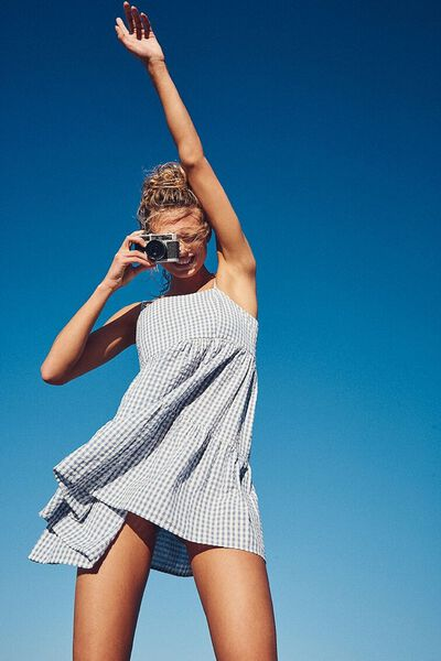 Woven Birdie Tiered Mini Dress, RORY GINGHAM INFINITY