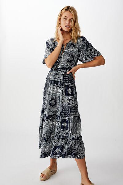 Woven Tabitha Short Sleeve Tiered Maxi Dress, CELIA BANDANA TOTAL ECLIPSE