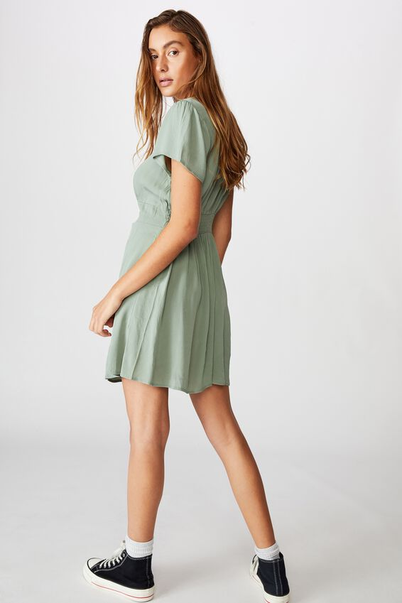 Woven Marissa Gathered Front Mini Dress, CHINOIS GREEN