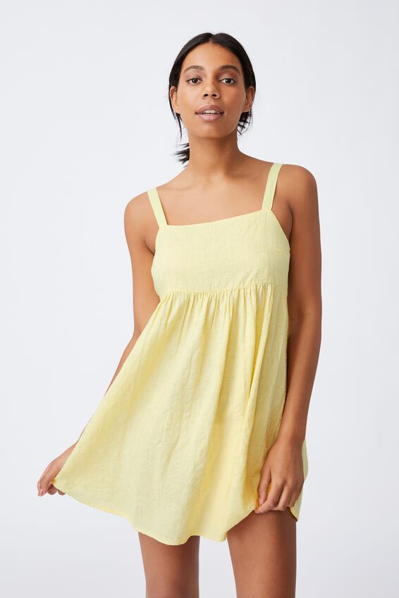 Woven Rizzo Keyhole Back Mini Dress, LEMON
