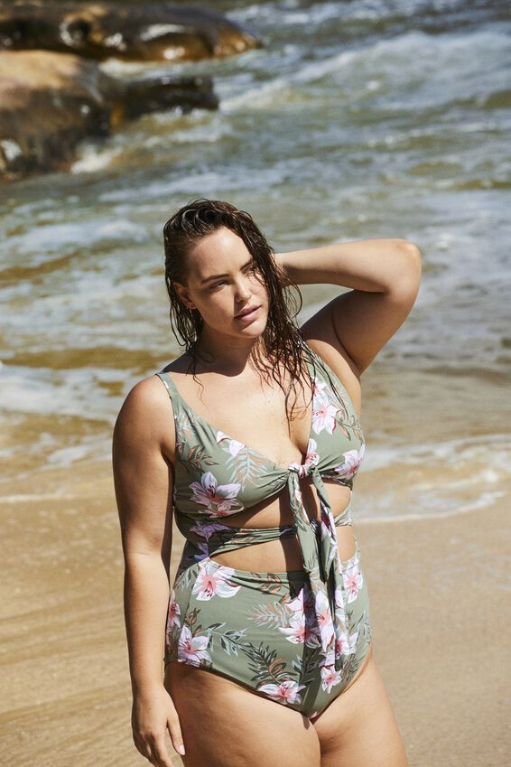 Curve Tie Front Cut Out One Piece, TROPICAL COOL AVOCADO