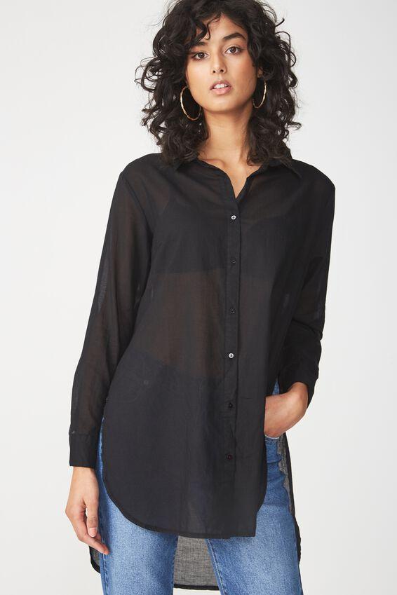 Longline Fashion Shirt, BLACK