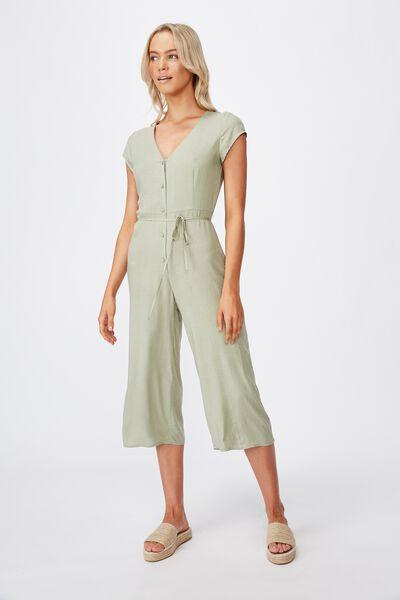 Woven Maggie Short Sleeve Jumpsuit, ROSIE SPOT TEA