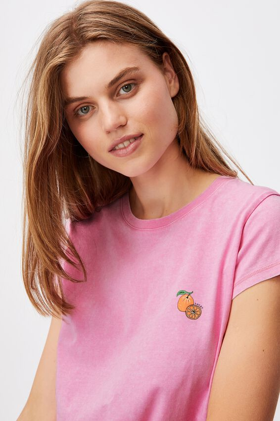 Tie Front Cny Graphic Tee, LUCKY ORANGE/PINK CHERRY BLOSSOM