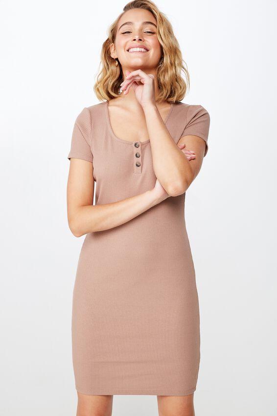 Gabby Short Sleeve Mini Dress, BROWNIE