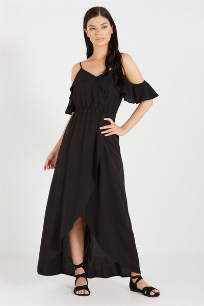 Woven Deb Cold Shoulder Maxi Dress, BLACK