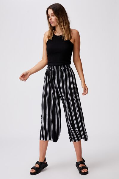 Poppy Pleated Pant, LORETTA STRIPE BLACK/WHITE