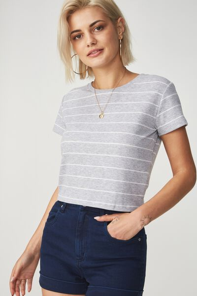 The Baby Rib Short Sleeve Tee, WIDE STRIPE GREY MARLE/WHITE TEXTURE