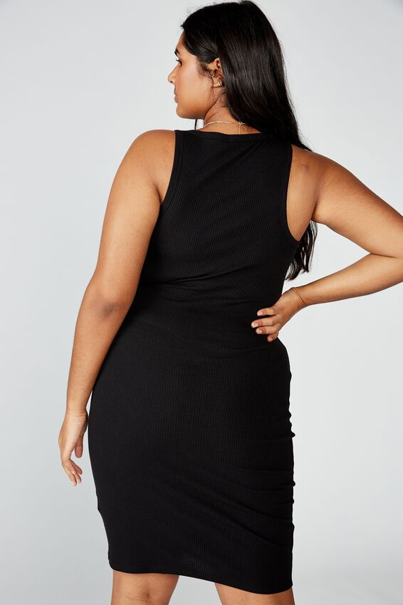Curve Kirsty Racerback Bodycon Midi Dress, BLACK