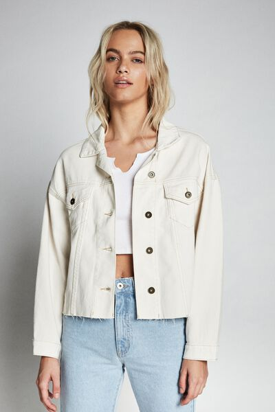 Os Denim Jacket, WHITE ALYSSIUM