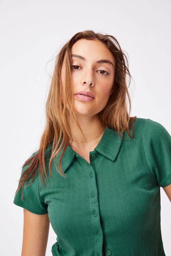 Amy Polo Short Sleeve Tee, HERITAGE GREEN