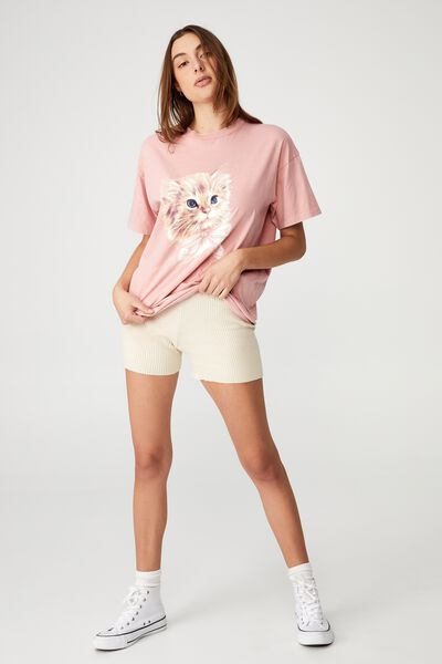 The Relaxed Boyfriend Graphic Tee, VINTAGE CAT/PETAL PINK