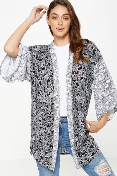 Holly Kimono, HANNAH FLORAL BLACK/HANNAH FLORAL WHITE