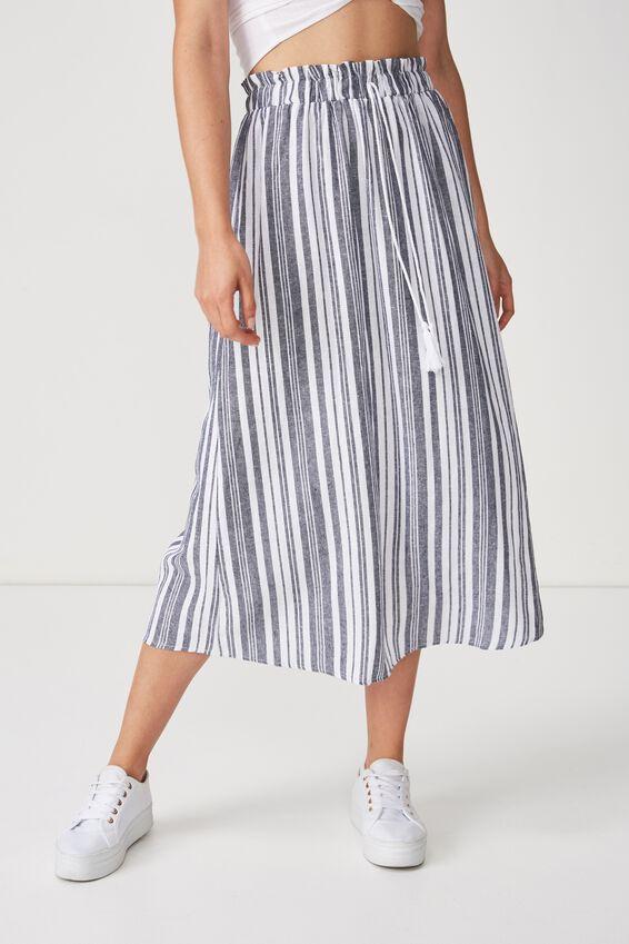 Woven Marnie Midi Skirt, REBECCA STRIPE DARK SAPPHIRE