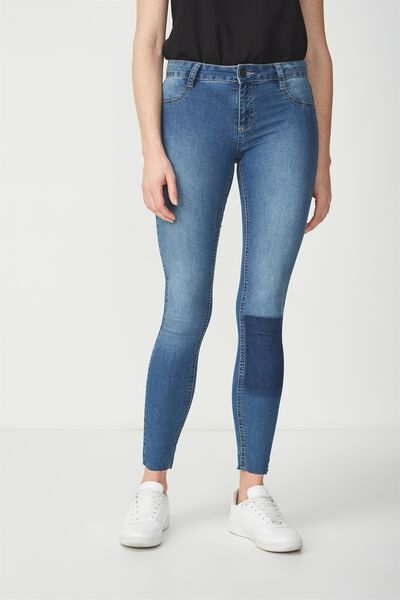 Mid Rise Jegging, MID BLUE SHADOW KNEE PATCH