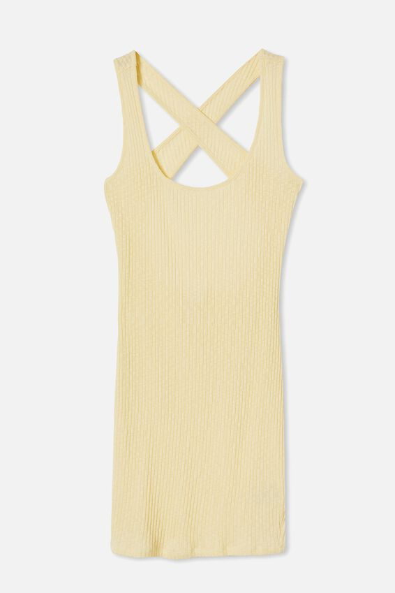 Tyra Cross Back Mini Dress, LEMON