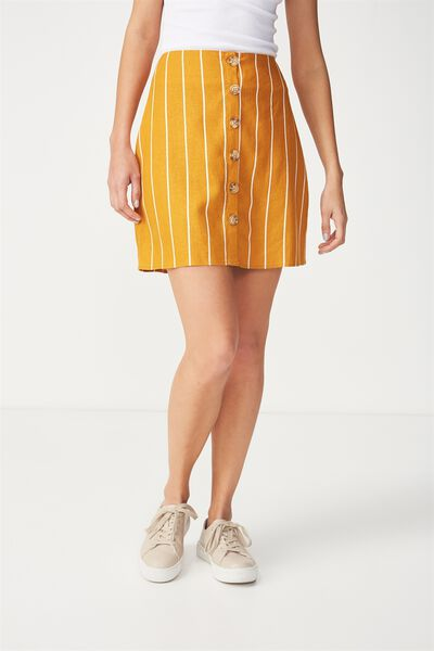 Woven Medina Mini Skirt, SAXXY STRIPE INCA GOLD