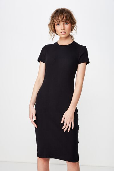 Giselle Short Sleeve Midi Dress, BLACK RIB