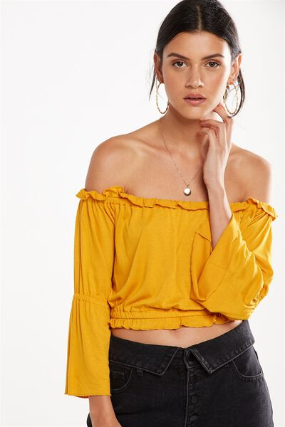Sofia Off The Shoulder Ruffle Top, SUNFLOWER