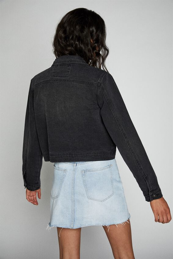 Girlfriend Denim Jacket, VINTAGE BLACK