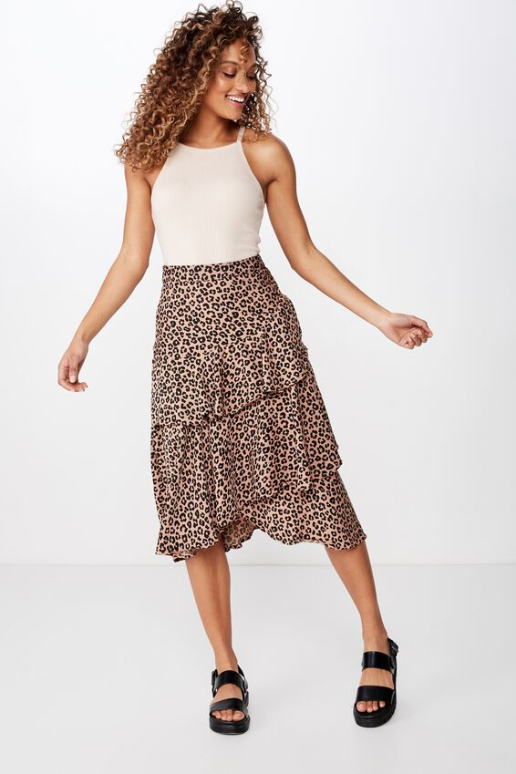 Woven Ava Midi Skirt, KIRSTY LEOPARD NEUTRAL SMALL